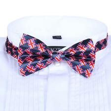 Men Satin Bow Tie Dickie Pre-Tied Wedding Tuxedo Necktie Union Jack Pattern TF