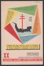 cartolina XX CAMPAGNA NAZ.ANTITUBERCOLARE 1957 illustr. M.ROVERONI