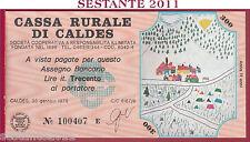 CASSA RURALE DI CALDES LIRE 300 30.01. 1978 AL PORTATORE DISEGNI BAMBINI FDS C29