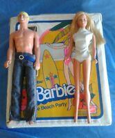 Vintage Barbie Ken Doll and Case 1979 Malibu Barbie The Beach Party Mattel .