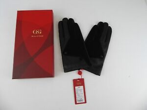 MENS BLACK LEATHER & SUEDE GLOVES - SIZE 9.5 (LARGE) - RRP £77.99 - NEW