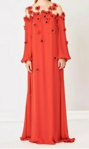 NEW Oscar de la Renta Silk 3D Flowers Beads Caftan Gown Red Black Illusion