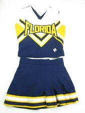 """REAL Cheerleader Uniform Outfit Costume 28"""" Top 21 Skirt FLORIDA Vacation Blue"""