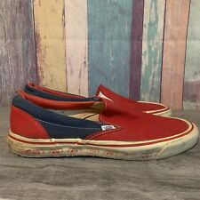Vintage VANS Red & Blue Bulldog Slip On Skateboarding Shoes 11 USA Fresno State
