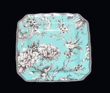 4 ADELAIDE Turquoise Floral Bird 222 Fifth Square Scalloped Salad Plates NIB