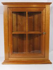 Vintage Hand Made Cherry Wood Corner Display Cabinet W/ Glass Door, Shelves