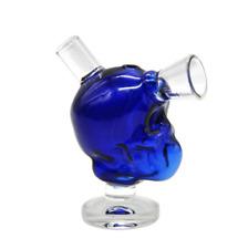 2018 Blue Glass Skull Hookah Water Smoking Pipe Bong Bubbler Shisha Beaker