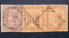 ADEN Used on BRITISH INDIA 1882 1a,3as Queen Victoria Used on Paper