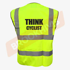 Cycling Hi Viz Vis Cycle Waistcoat Vest Tabard Road Safety Reflective Bike Rider 2xl Think Cyclist