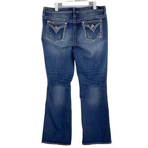 Vigoss Heritage Fit High Rise Slim Boot Cut Medium Blue Jeans Size 18 x 32 NWT