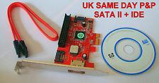 New PCIE PCI-e PCI Express SATA 2 Card  1 Internal + 1 External Port + 1 IDE
