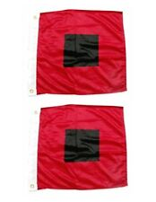 "2 Flag Set 36"" x 36"" HURRICANE WARNING NAUTICAL FLAGS Polyester MIAMI HURRICANES"