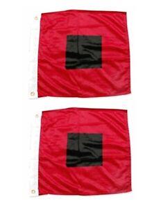"18 x 18"" HURRICANE WARNING FLAGS Print Polyester 2 FLAG SET Miami Hurricanes"