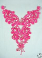 0035 HOT PINK NEON YOKE SEQUIN BEADED APPLIQUE MOTIF Sewing and Crafts