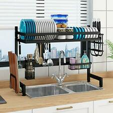 Over The Sink Dish Drying Rack, Drainer Shelf for For Sink ≤ 32.5inch Black