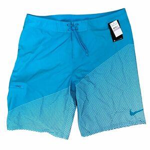 NEW Nike Swim Board Shorts Men's Size 38 Light Teal Blue White Striped Pocket