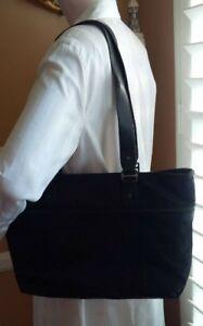LESPORTSAC Classic Black Nylon Twill & Leather Trim Shopper Tote Bag