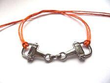 Orange tie & leave on horsebit bracelet karmastring horseriding party summer
