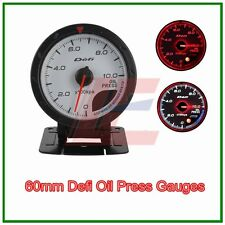 60mm def advanced oil press gauge Amber red/ white lights white face auto meter