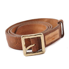 New $295 SANTONI Distressed Brown Leather Belt with Gold Buckle 38 (95cm)