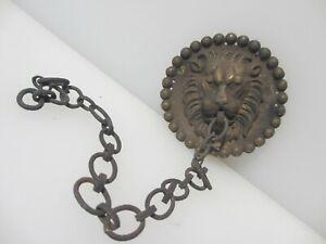 Victorian Brass Chain Hanger Loop Old Antique Lion Head Plaque Tie Plug? French