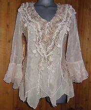 NWT PRETTY ANGEL blouse shirt tunic BOLERO SM GYPSY ruffles & lace VINTAGE CAR.
