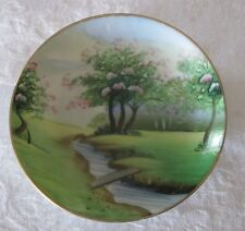 Small vintage handpainted porcelain plate, Japan, 4 inches, cherry blossom trees