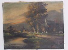 "altes Ölgemälde oil painting 51x40 cm signiert  ""DORF  BACH SEE"" Landschaft"