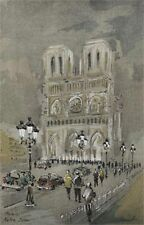 Paris Notre Dame Lithographie in der Platte signiert