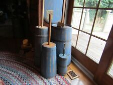 Early Farmhouse Inspired Wood Butter Churn W/Dasher - Copper Bands-Blue