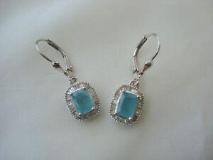 2.30ct  Rare Grandidierite  & Baguette Diamond Earrings