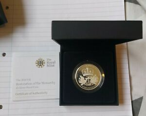 2010 Royal Mint Restoration of the Monarchy Silver Proof Crown £5 coin COA Box