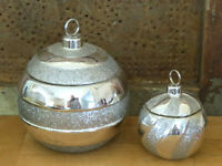2 Christmas Ornament Bath & Body Works Vintage White Candle Silver Swirl Stripe