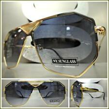 Extragrande Clásico Estilo Retro Diseño Lujo Gafas de Sol Moda Oro Negro Marco