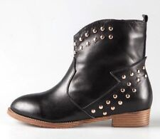 Women 100% Real Leather Black Flat Ankle Boots Studded Pull On