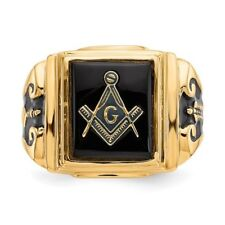 14K 14KT Yellow Gold Men's Masonic  Ring 5.7 grams Size 10