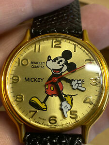Vtg Bradley Time Elgin Limited Edition Mickey Mouse 50th Anniversary Wrist Watch