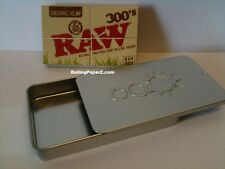 RAW 300's ORGANIC HEMP 1 1/4 Rolling Papers+Slide Top Tobacco Storage/Stash Case