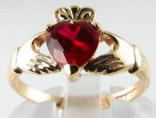 LOVELY 9K 9CT GOLD RICH INDIAN RUBY CLADDAGH ART DECO INS RING FREE RESIZE