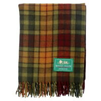BORDER TWEEDS Picnic Travel Rug Throw Wool Tartan Scottish - Buchanan Autumn