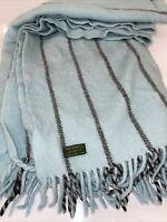 Tweedmill Blue Pure Wool Blanket Throw 60x60