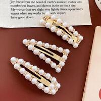 Charm Women Crystal Pearl Hair Clip Snap Barrette Stick Hairpin Hair Accessories