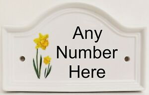 Daffodils Ceramic House Number Door Bridge Yellow Flowers Plaque Sign Any Number