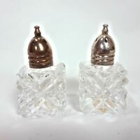 Miniature Set of Crystal Cut Glass Salt & Pepper Shakers Metal Lids From Japan