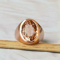 Peach Color Morganite Quartz Gemstone Sterling Silver Rose Gold Ring Jewelry