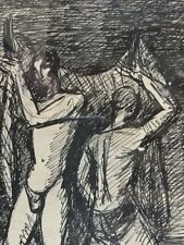 Antoine CHARTRES Lyon 1905-1968.Les pêcheurs.C.1925.Encre.SBD.22x12.Cadre