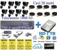 KIT VIDEOSORVEGLIANZA 8 TELECAMERE DA ESTERNO+DVR 8C ICLOUD+ 8 CAVI 20M+HD 1 TB