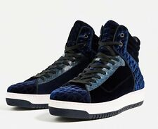 New Zara Men Hi-Cut Shoes Blue Velvet Lace Quilted 6 Faux Leather Accent Hi-Top