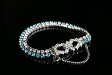 Kramer rhinestone bracelet vintage 50 60 clear blue silvertone Mid Century Retro