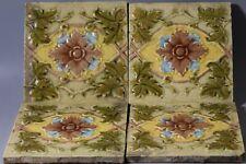 "4x Victorian 6"" embossed majolica tile c1910"